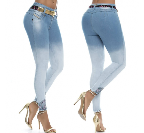 jeans push up marca pitbull degradado de azul claro a azul oscuro